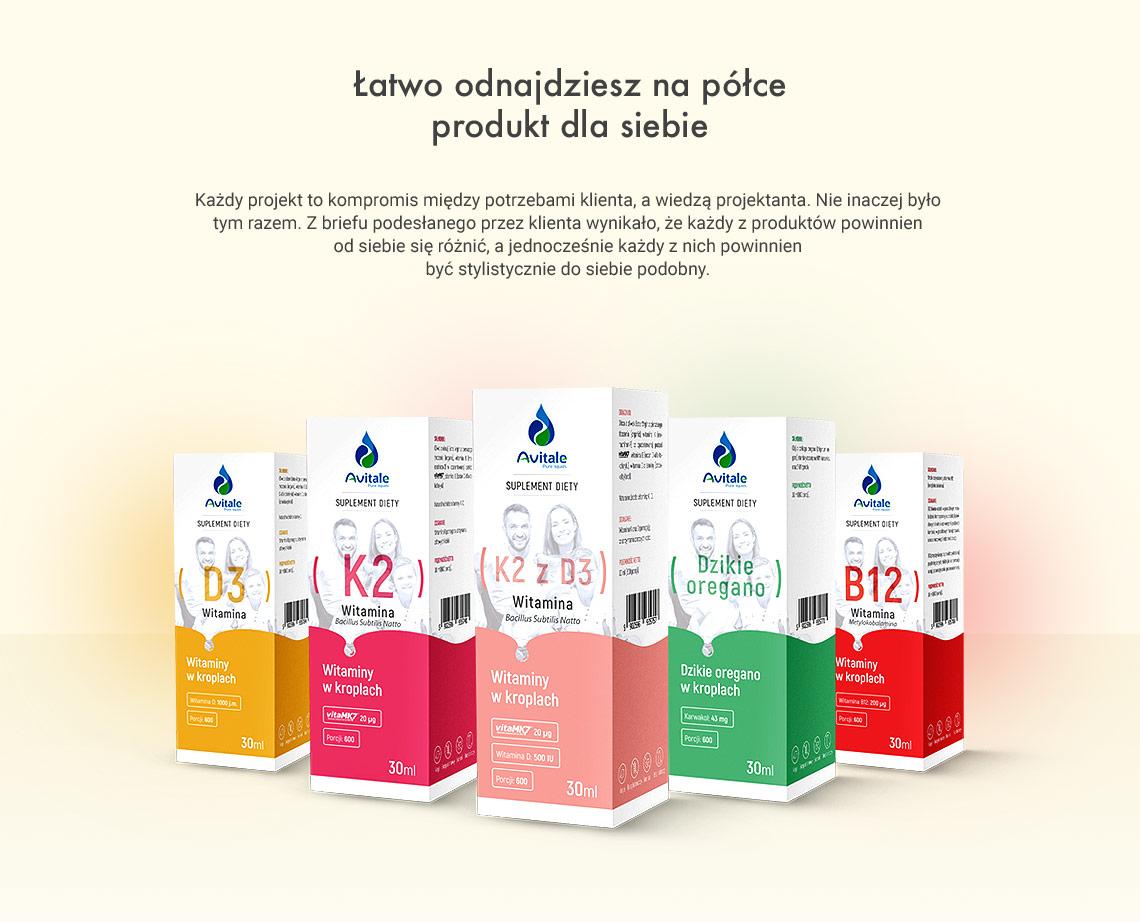 Projekt etykiet dla witamin w kroplach