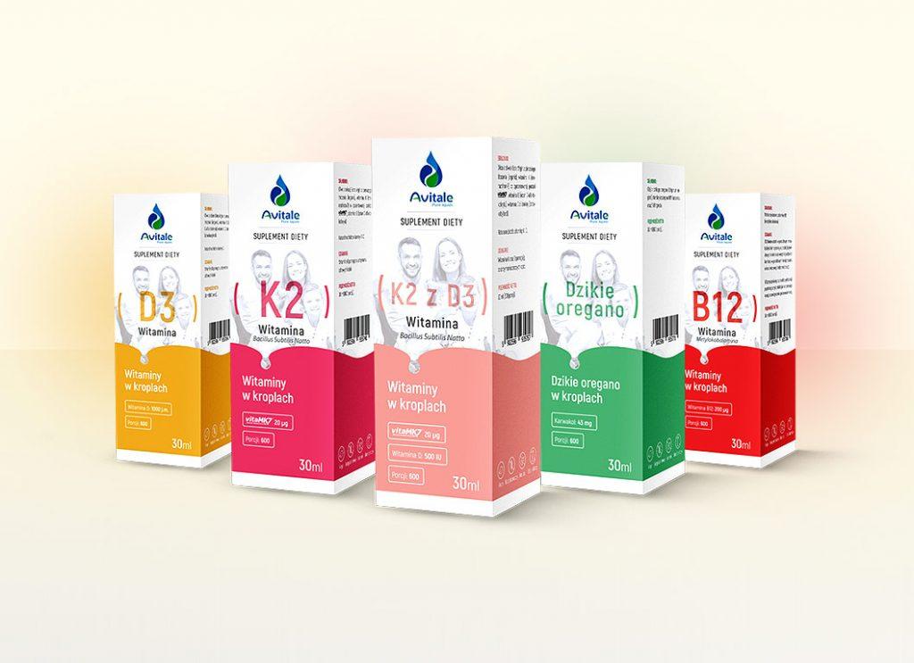 Projekt opakowań i etykiet witamin